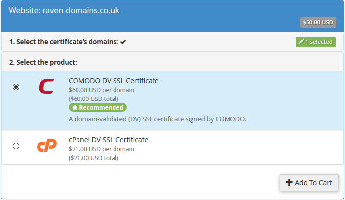 Select Domain and SSL